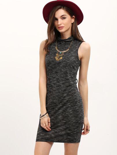 Grey High Neck Sleeveless Sheath Dress