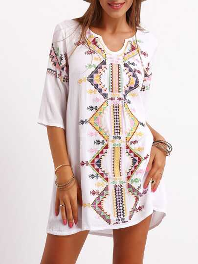 White Half Sleeve Tribal Embroidered Dress