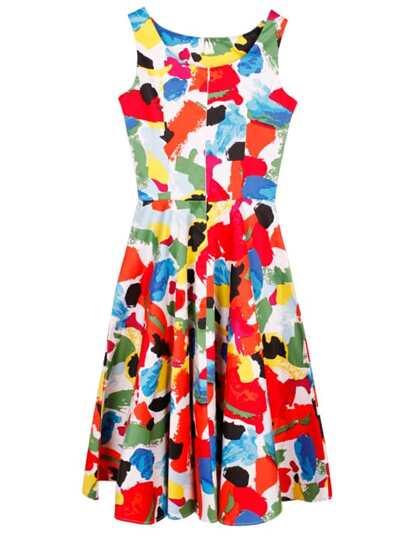 Multicolor Boat Neck Sleeveless Flare Dress