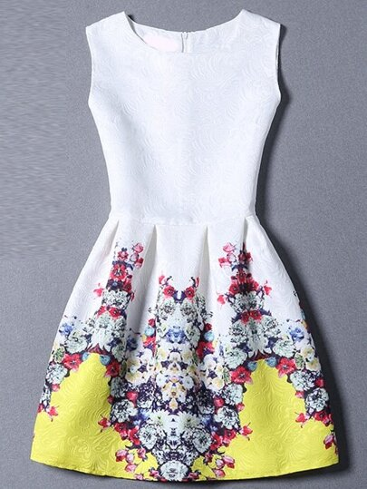 Multicolor Round Neck Sleeveless Floral Dress