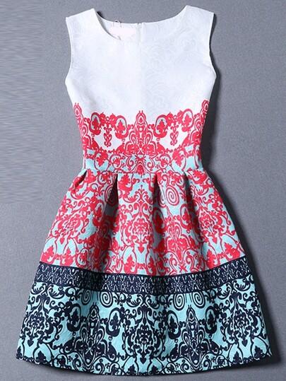 Multicolor Sleeveless Tribal Print A Line Dress
