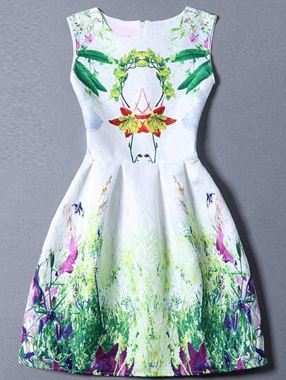 Multicolor Sleeveless Leaves Print Flare Dress
