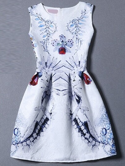 Blue White Sleeveless Floral Flare Dress