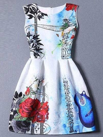 Multicolor Sleeveless Guitar Print Flare Dress