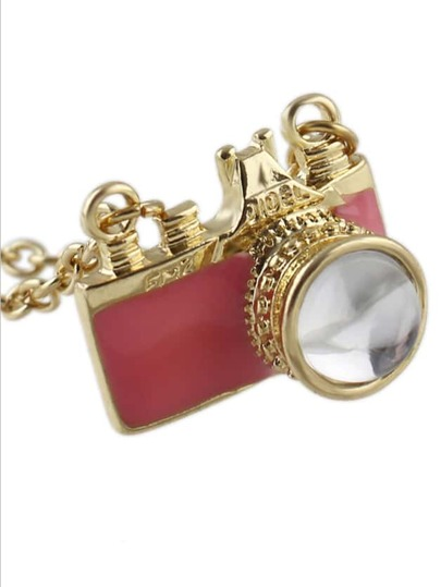 Pink Camera Pendant Necklace