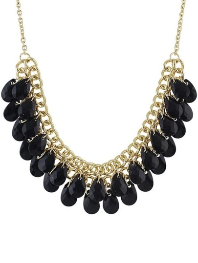 Black Multilayers Bib Bead Necklace