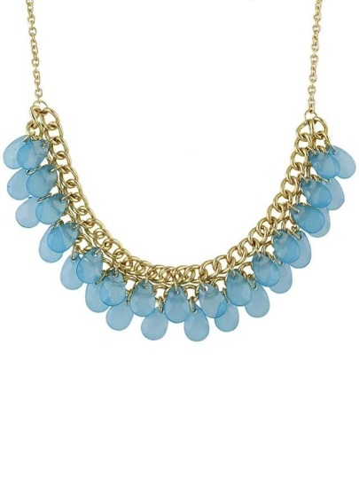 Blue Multilayers Bib Bead Necklace