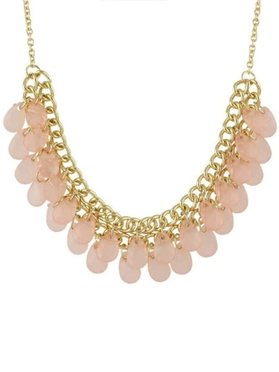Pink Multilayers Bib Bead Necklace