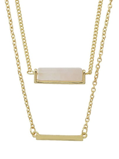 Collier 2 rangs avec pendentif -doré