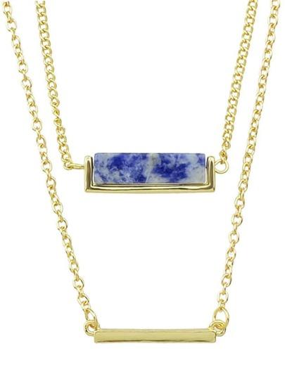 Blue Double Stone Pendant Necklace