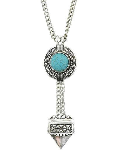 Atsilver Hanging Turquoise Necklace