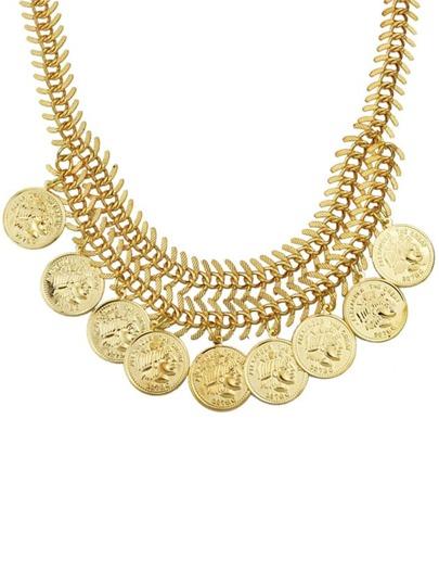 Collier court à monnaie métallique -doré