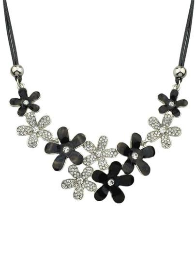 Silver Rhinestone Flower Necklace