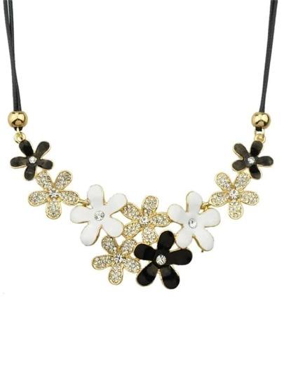 Gold Rhinestone Flower Necklace