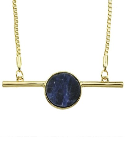 Gold Plated Stone Pendant Necklace