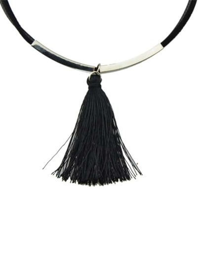 Silver Tassel Hanging Collar Necklace