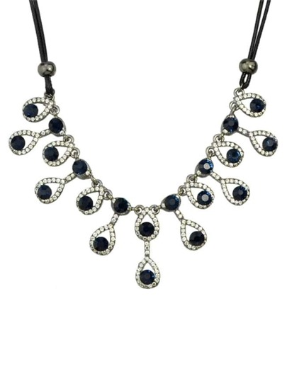 Gunblack Crystal Wedding Necklace