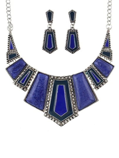Set de joya geométrico maxi -azul