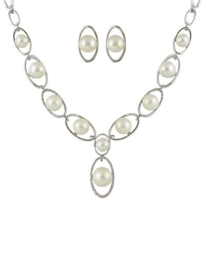 Silver Rhinestone Pearl Jewelry Set