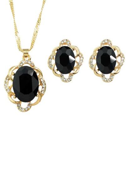 Schmuck Set mit Perle - schwarz