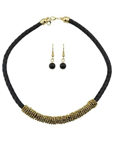 Gold Pu Leather Jewelry Set