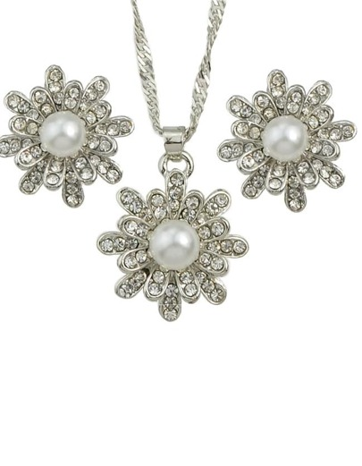Silver Pearl Flower Jewelry Set
