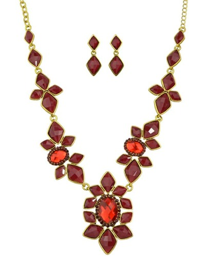 Red Gemstone Statement Jewelry Set