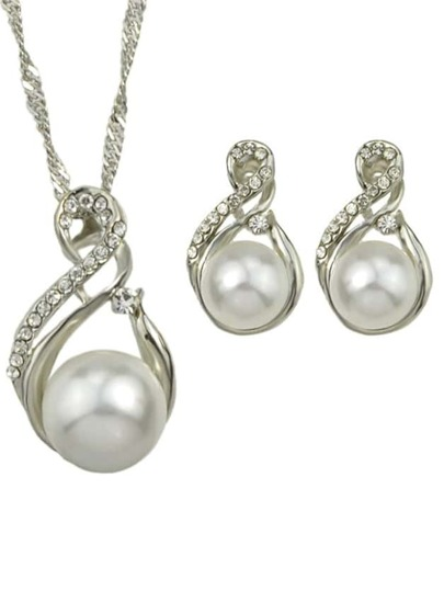 Silver Pearl Jewelry Set