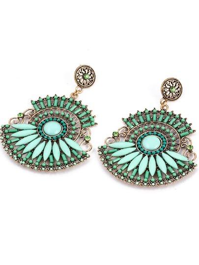 Green Beaded Boho Earrings