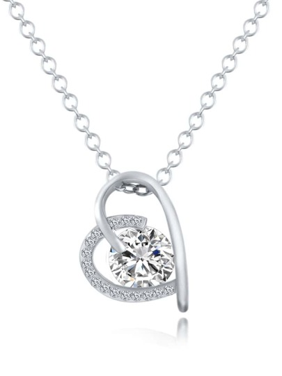 Silver Heart Crystal Pendant Necklace