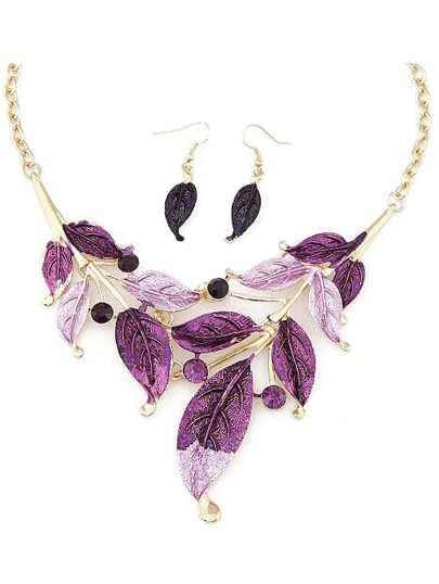 Purple Leaves Jewelry Set