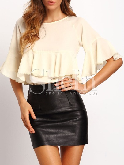 Apricot Ruffle Bell Sleeve Blouse