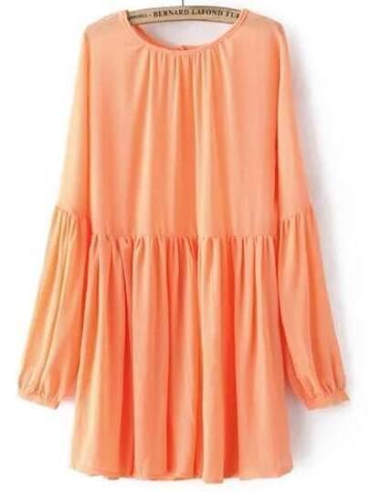 Orange Round Neck Pleated Loose Dress