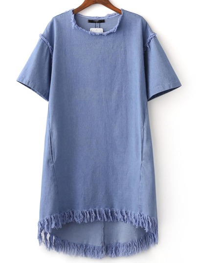 Blue Crew Neck Tassel Denim Dress
