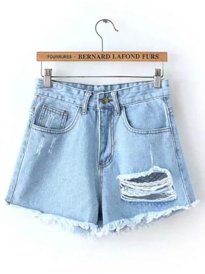 Pantaloncini corti strappati con Tasche in denim Blu