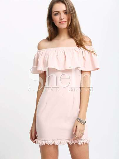 Pink Ruffle Off The Shoulder Sheath Dress