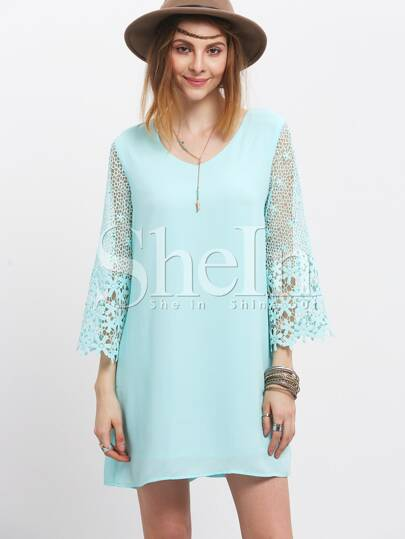 Green Hollow Crochet Bell Sleeve Keyhole Back Shift Dress