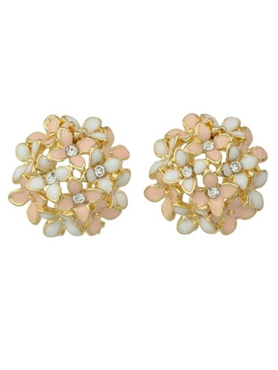 Pink Flower Shape Stud Earrings