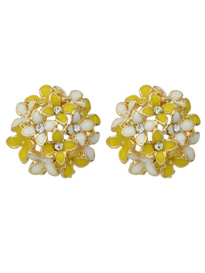 Yellow Flower Shape Stud Earrings