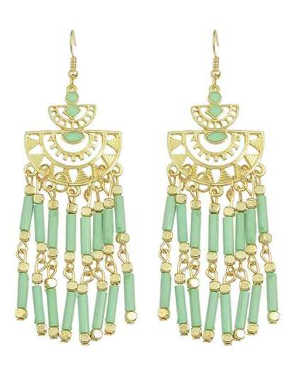 Long Green Bead Drop Earrings