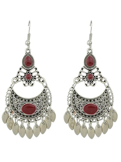 Red Drop Earrings Colorful