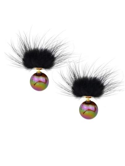 Coffee Cute Ball Stud Earrings