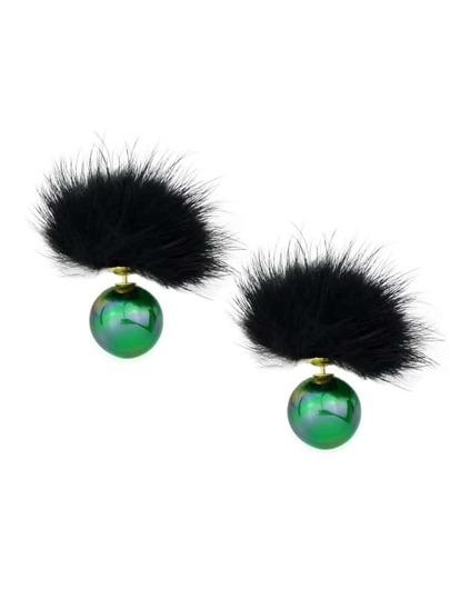 Green Cute Ball Stud Earrings