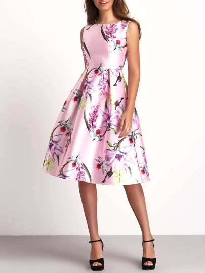 Pink Crew Neck Sleeveless Floral Flare Dress