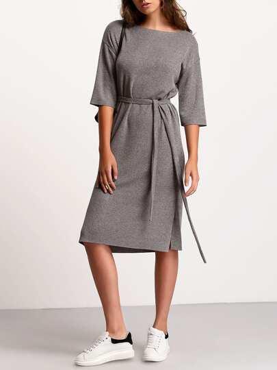 Tie Taille Kleid Rundhals mit seitlichem Schlitz -grau