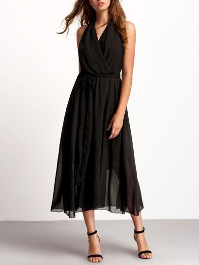 Black Deep V Neck Sleeveless Tie Waist Dress