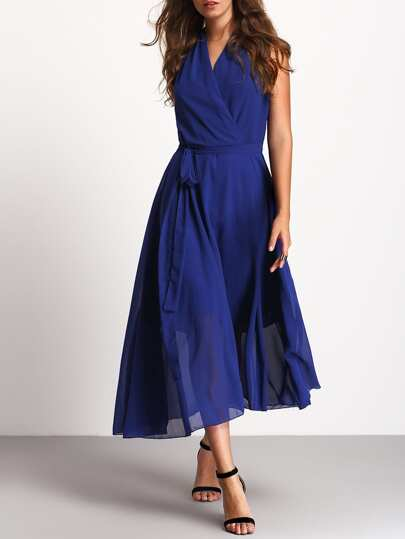 Blue Deep V Neck Sleeveless Tie Waist Dress