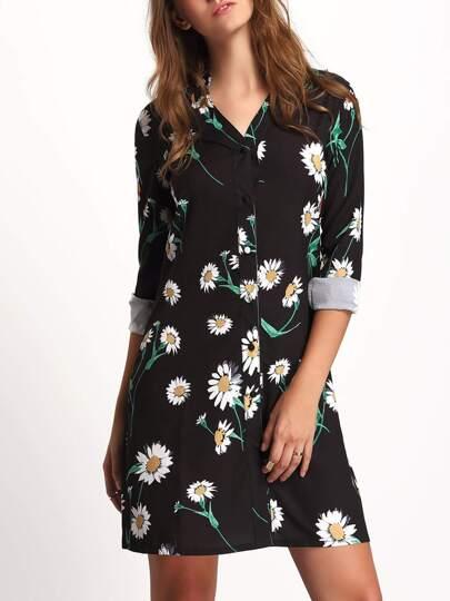 Black Stand Collar Floral Shirt Dress