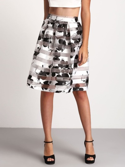 Black White Floral Flare Skirt