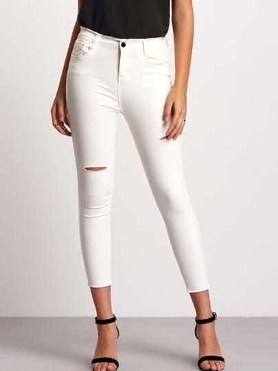 Pantaloni aderente Strappato in Denim Bianco
